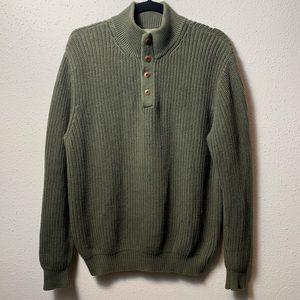LLBEAN Mens Medium Green Knit Henley Pullover